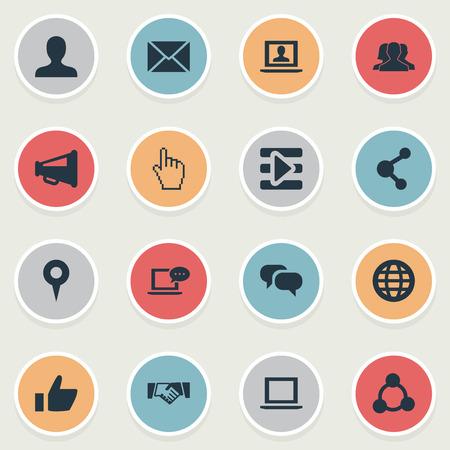 シンプルなソーシャルメディアアイコンのベクトルイラストセット
