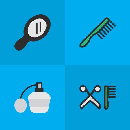 Elements Comb, Glass, Hairbrush y otros sinónimos Perfume, Hairbrush And Comb. Ilustración vectorial Conjunto de iconos de tienda simple. Foto de archivo - 85317010