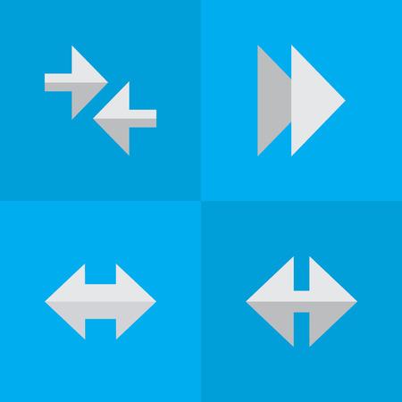 요소 표시기, 전달, 내보내기 및 기타 동의어 전달, 경고 및 화살표. 벡터 일러스트 레이 션 간단한 표시기 아이콘의 집합입니다.