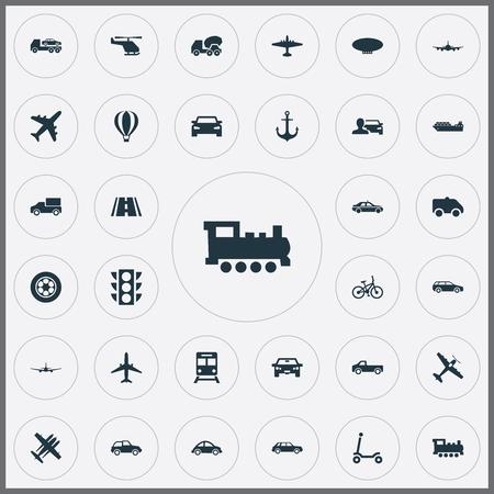 Léments Tire, berline, combattant militaire et autre mélangeur de synonymes, automobiliste et hayon. Vector Illustration Set d'icônes de transport simple. Banque d'images - 85317193
