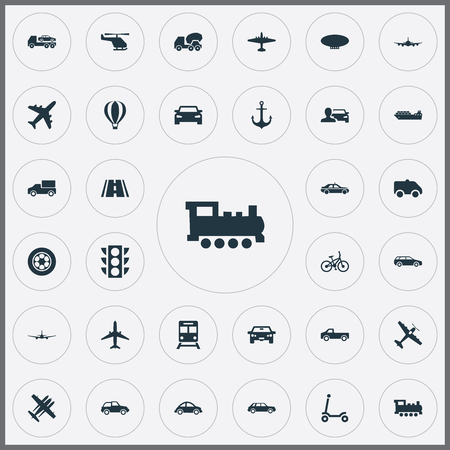 Elements Tire, Sedan, Military Fighter And Other Synonyms Mixer, Automobilist And Hatchback.  Vector Illustration Set Of Simple Transportation Icons.