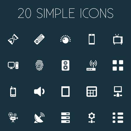 Réseau d'éléments, bouton, empreintes digitales et autres synonymes moteur, calculatrice et vers le bas. Vector Illustration Set d'icônes de l'appareil simple. Banque d'images - 85317201