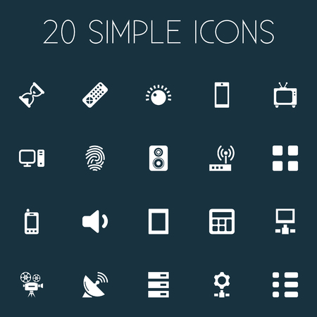 Elements Network, Knob, Fingerprint And Other Synonyms Engine, Calculator And Down.  Vector Illustration Set Of Simple Device Icons.