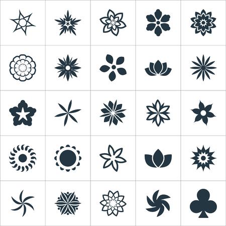 요소 금잔화, 꽃, Ranunculus 및 기타 동의어 Floret, Helianthus and Leaf. 벡터 일러스트 레이 션 간단한 꽃 아이콘 집합입니다.
