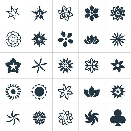 Elements Marigold, Bloom, Ranunculus And Other Synonyms Floret, Helianthus And Leaf.  Vector Illustration Set Of Simple Flower Icons. Banco de Imagens - 85317203