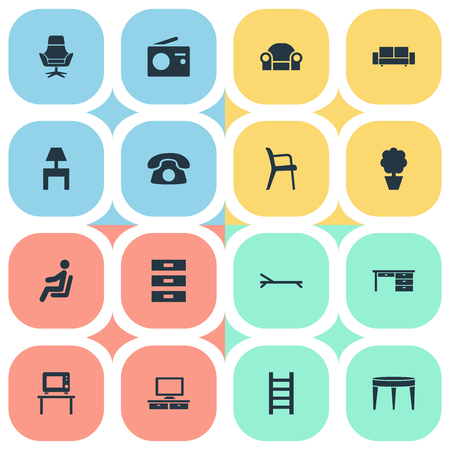 Elements Waiting Man, Bedside Socle, Office Armchair And Other Synonyms Work, Sofa And Pot.  Vector Illustration Set Of Simple Furnishings Icons. Illustration
