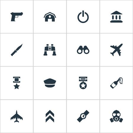 요소 순위, 망원경, 모자 및 기타 동의어 보상, 배지 및 전원. 벡터 일러스트 레이 션 간단한 군대 아이콘의 집합입니다.