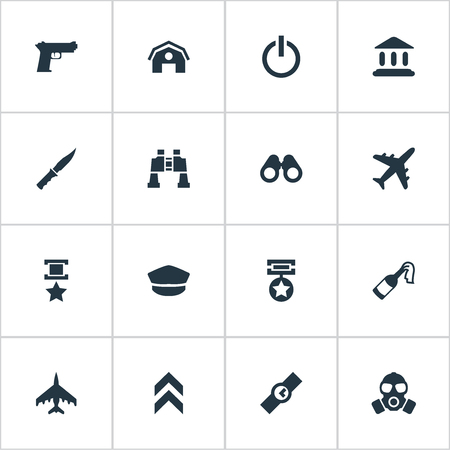 Elements Rank, Telescope, Hat And Other Synonyms Reward, Badge And Power.  Vector Illustration Set Of Simple Army Icons.