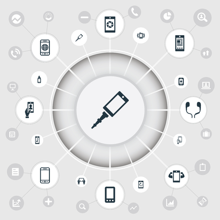 Elements Worldwide Net, Media, Technology And Other Synonyms Bug, Connection And Phone.  Vector Illustration Set Of Simple Mobile Icons.