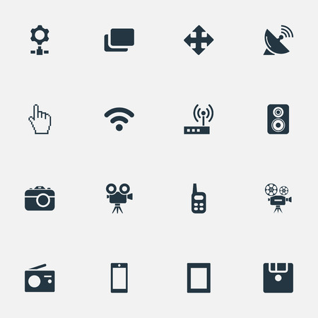 Elements Diskette, Smartphone, Tuner And Other Synonyms Photographer, Photo And Arrow.  Vector Illustration Set Of Simple Device Icons.