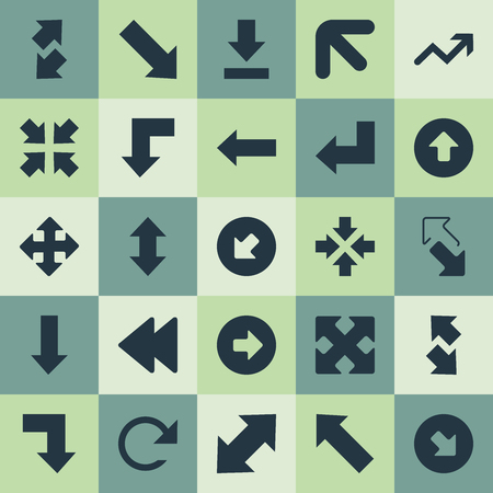 Elements Advancement, Left Direction, Down Up And Other Synonyms Progress, Falling And Reduction.  Vector Illustration Set Of Simple Arrows Icons. Фото со стока - 85317213
