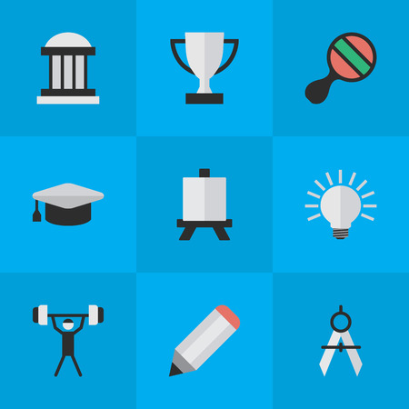Elements Bodybuilding, Pen, Measurement Dividers And Other Synonyms Painting, Museum And Light.  Vector Illustration Set Of Simple Knowledge Icons. Illustration