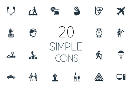 Elements Powerlifting, Musician, Juice And Other Synonyms Guitar, Handshake And Reality.  Vector Illustration Set Of Simple Yoga Icons. Illustration