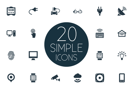 Elements Socket, Smart Watch, Bulb And Other Synonyms Speaker, Storage And Connection.  Vector Illustration Set Of Simple Internet Icons.