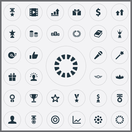 Elements Victory, Military Medallion, Profile And Other Synonyms Money, Round And Prize.  Vector Illustration Set Of Simple Champ Icons.