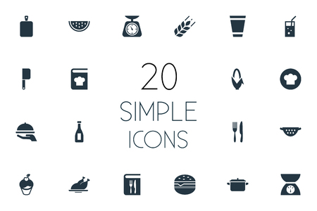 Elements Muffin, Rinser, Scales And Other Synonyms Rinser, Menu And Scale.  Vector Illustration Set Of Simple Kitchen Icons.