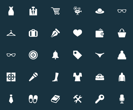 Elements Pushcart, Underwear, Password And Other Synonyms Cravat, Clothes And Luggage.  Vector Illustration Set Of Simple Equipment Icons.