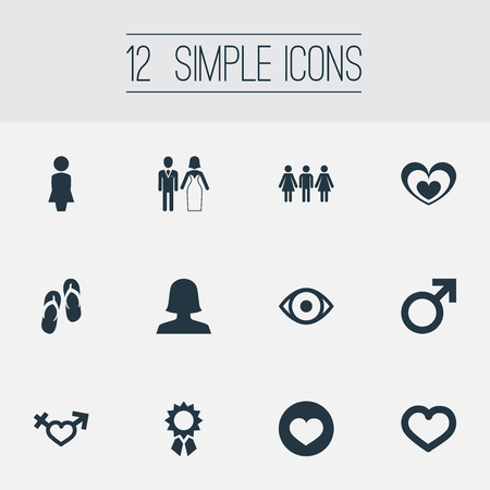 Elements Soul, Valentine, Eye And Other Synonyms Lady, Man And Reward.  Vector Illustration Set Of Simple Lovers Icons.