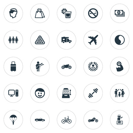 Elements Travel Home, Leisure, Shopping Bag And Other Synonyms Reality, Lemonade And Family.  Vector Illustration Set Of Simple Health Icons.