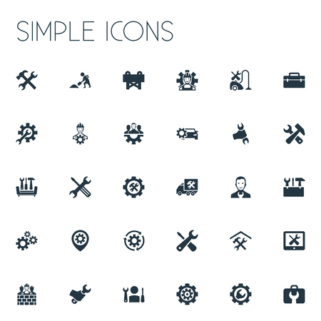 Elements Mechanic, Repairing, Mending And Other Synonyms Builder, Mechanic And Hand.  Vector Illustration Set Of Simple Mending Icons.