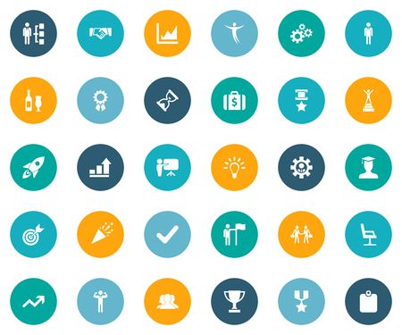 Elements Success, Skills, Winner And Other Synonyms Office, Lecturer And Sign.  Vector Illustration Set Of Simple Trophy Icons.