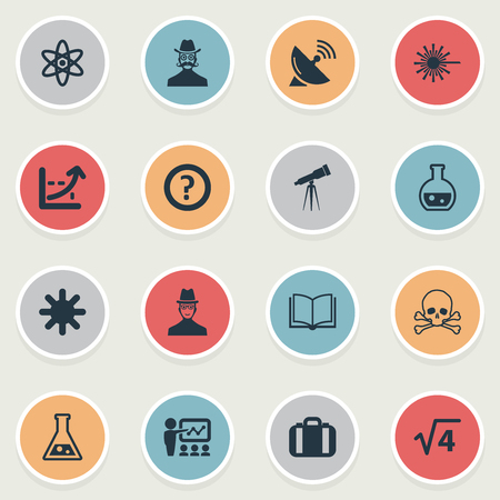 Elements Atom, Book, Briefcase And Other Synonyms Case, Report And Snowflake.  Vector Illustration Set Of Simple Knowledge Icons. 向量圖像