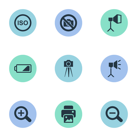 amplify: Elements Energy, Flame Instrument, Light Level And Other Synonyms Augment, Printer And Charge.  Vector Illustration Set Of Simple Photographer Icons. Illustration