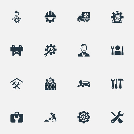 Elements Mending, Equipments, Specialist And Other Synonyms Garage, Workshop And Barrier.  Vector Illustration Set Of Simple Fixing Icons. Illustration