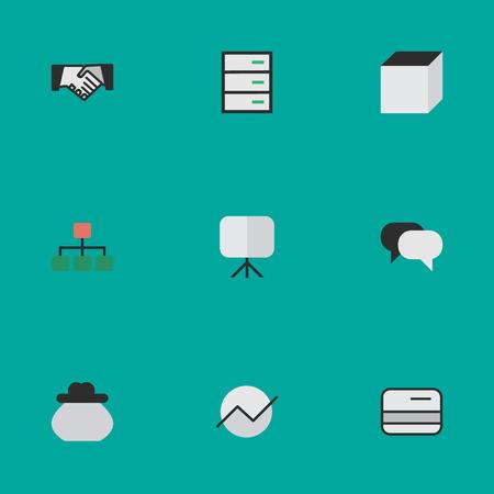 要素図、構造、広場や他の同義語の会議、クレジットカードと増加。 シンプルなトレードアイコンのベクトルイラストセット。  イラスト・ベクター素材