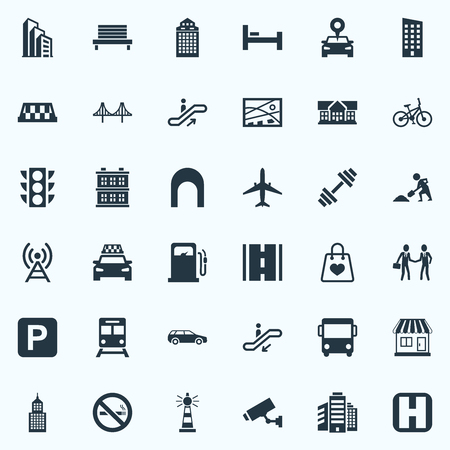 Elements Kiosk, Staircase, Autobus And Other Synonyms Taxicab, Rope And Connection.  Vector Illustration Set Of Simple Infrastructure Icons. Illustration