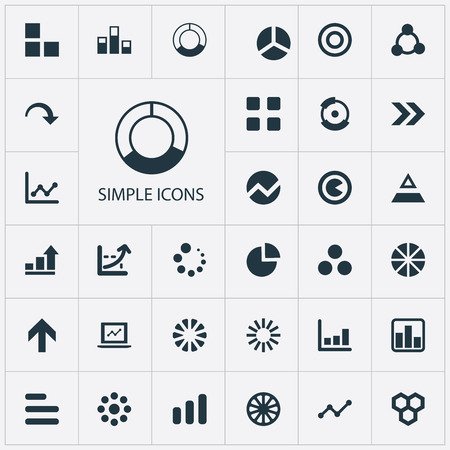 Elements Growth, Pattern, Circular And Other Synonyms Diagram, Segment And Chart.  Vector Illustration Set Of Simple Chart Icons.
