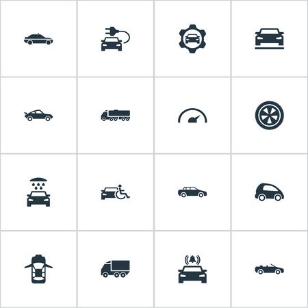 要素セダン、輸送クリーニング、ギアと他の同義語シャワー、ベルとサイレン。 シンプルなトランスポートアイコンのベクトルイラストセット。
