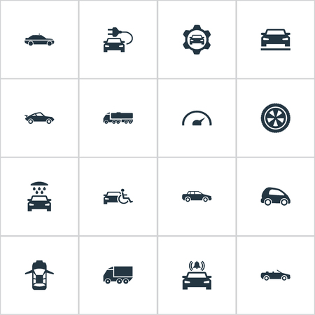 Elements Sedan, Transport Cleaning, Gear And Other Synonyms Shower, Bell And Siren.  Vector Illustration Set Of Simple Transport Icons.