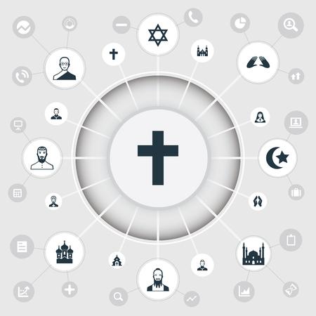 채플린, 데이비드 스타, 모하메드주의 및 기타 동의어 사제, Priestess 및 불교. 벡터 일러스트 레이 션 간단한 믿음 아이콘의 집합입니다.