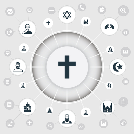 sanctified: Elements Chaplain, David Star, Mohammedanism And Other Synonyms Priest, Priestess And Buddhist.  Vector Illustration Set Of Simple Faith Icons.