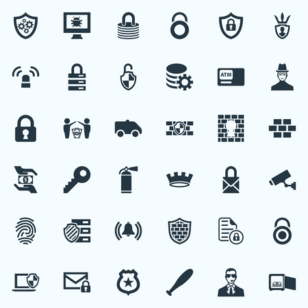 Elements Database, Protector, Penitentiary And Other Synonyms Antivirus, Fingerprint And Security.  Vector Illustration Set Of Simple Protection Icons. Illustration