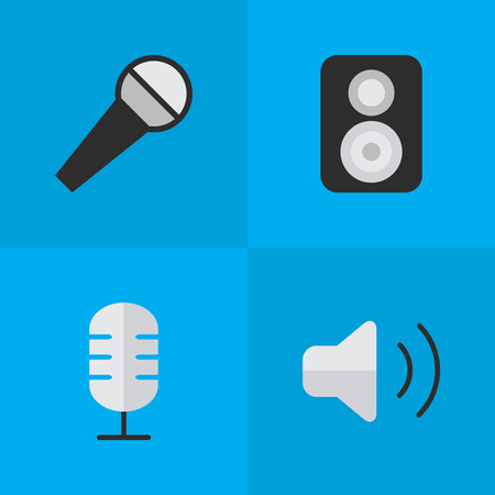 loudness: Elements Microphone, Speaker, Loudness And Other Synonyms Amplifier, Make And Loudspeaker.  Vector Illustration Set Of Simple  Icons.