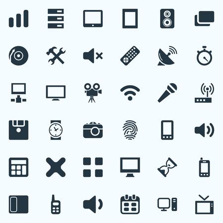 사진, 날짜, 가라오케 및 기타 동의어 모래 시계, 전화 및 디스크. 벡터 일러스트 레이 션 간단한 디지털 아이콘의 세트입니다. 일러스트