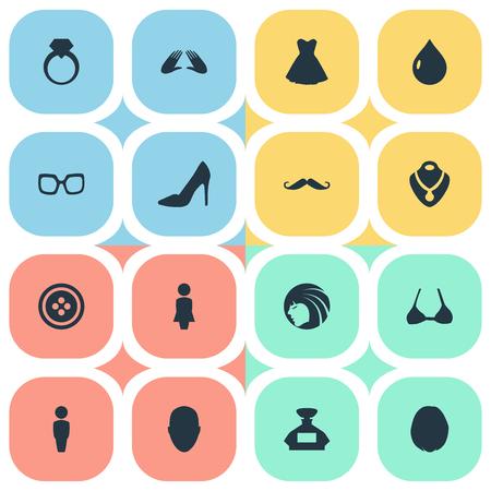 Elementen Heirdressing, Tailor, Jewel en andere synoniemen Snorren, mode en water. Vectorillustratiereeks Eenvoudige Glamourpictogrammen. Stock Illustratie