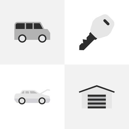 Elementos cobertizo, automóvil, minibús y otros sinónimos cobertizo, clave y cupé. Ilustración vectorial Conjunto de iconos de transporte simple. Foto de archivo - 85317687