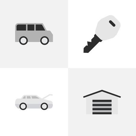 Elements Shed, Automobile, Minibus And Other Synonyms Shed, Key And Coupe.  Vector Illustration Set Of Simple Transportation Icons.