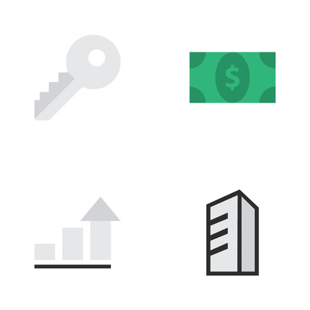 Elements Growing, Apartment, Opening And Other Synonyms Diagram, Architecture And Growing.  Vector Illustration Set Of Simple Trade Icons.