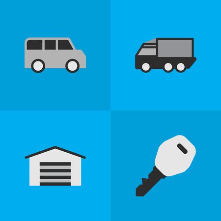 Elementos Minibus, Shed, Open y otros cerraduras de sinónimos, garaje y cobertizo. Ilustración vectorial Conjunto de iconos de tráfico simple. Foto de archivo - 85317692
