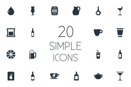 要素カクテル、ハーブ醸造、ブランデー同義語デカンタ、モカとシトラス。 シンプルなドリンクアイコンのベクトルイラストセット。
