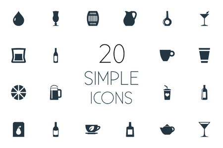Elements Cocktail, Herbal Brew, Brandy Synonyms Decanter, Mocha And Citrus.  Vector Illustration Set Of Simple Beverage Icons.
