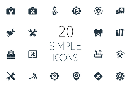 Elements Builder, Screwdriver With Wrench, Toolbox And Other Synonyms Renovation, Rotate And Builder.  Vector Illustration Set Of Simple Repairing Icons.