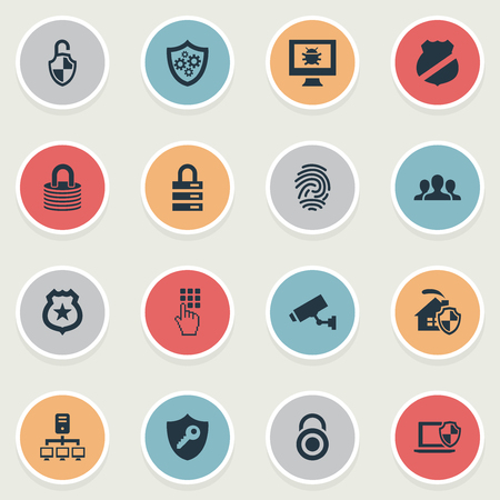 Elements Surveillance, Under Protection, Entering Password And Other Synonyms Badge, Team And Safety.  Vector Illustration Set Of Simple Security Icons.
