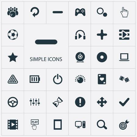 Elements Start, Kegling, Asterisk And Other Synoniemen Game, Charge and Football. Vector illustratie Set van eenvoudige pictogrammen van de vrije tijd. Stock Illustratie