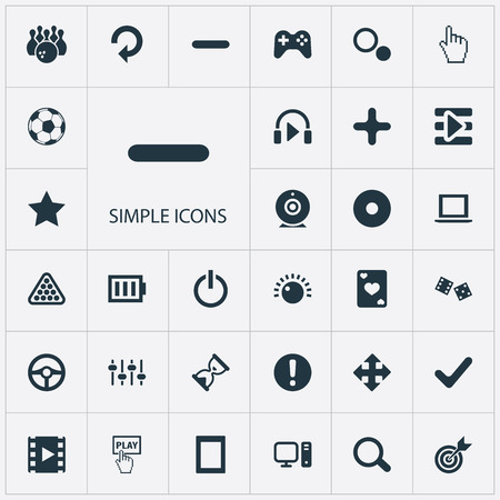 Elements Start, Kegling, Asterisk And Other Synonyms Game, Charge And Football.  Vector Illustration Set Of Simple Leisure Icons.