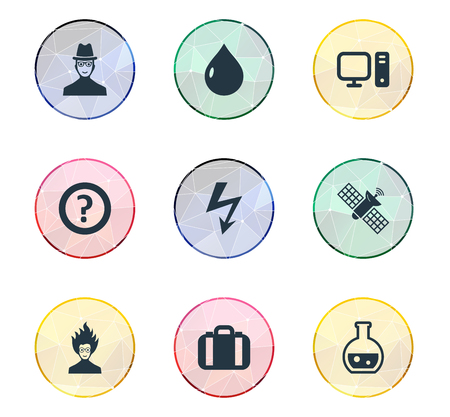 Elements Mad Scientist, Pharmacology, Researcher And Other Synonyms Scientist, Satellite And Researcher.  Vector Illustration Set Of Simple Study Icons. Иллюстрация